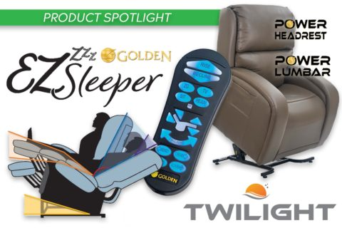 Golden EZ Sleeper Lift Chair product spotlight image. Photos of the EZ sleeper lift chair, the EZ sleeper lift chair remote, and the chair in various reclining positions.