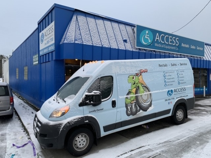 A photo of Access Medical Equipment Co. and the Access Medical Delivery van.